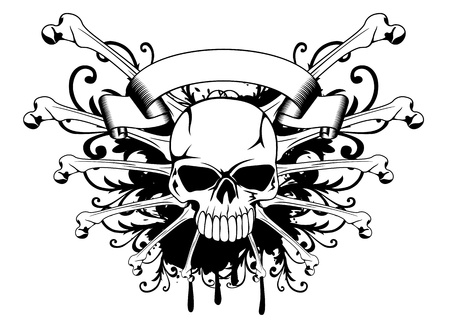 Vector illustration skull with patterns and bones Vector