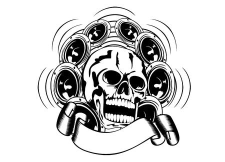 Vector illustration skull and loudspeakers Vector
