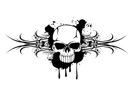 Vector illustration skull with patterns
