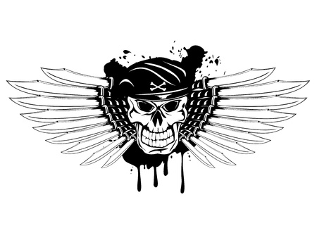 Vector illustration soldier skull in beret and daggers Vector