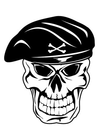 deaths head: Vector illustration soldier skull in beret