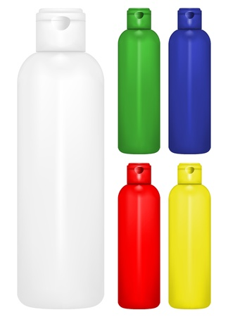 Vector illustration of  bottle of shampoo of different colors