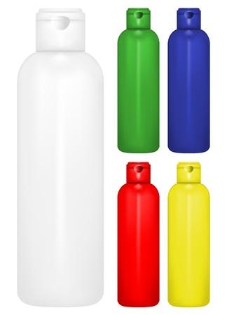 leere flaschen: Vector Illustration der Flasche Shampoo in verschiedenen Farben Illustration