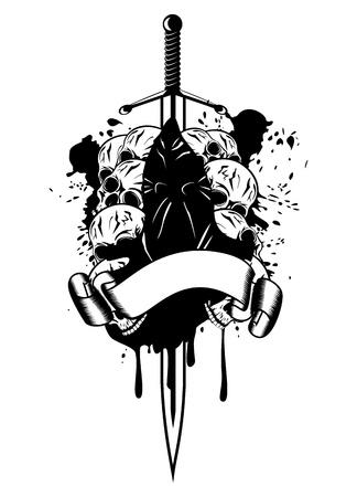sentence: Vector illustration executioner and skull Illustration