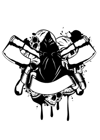 Vector illustration executioner and skull Illustration