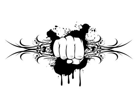 illustration t-shirt design fist and patterns Vector