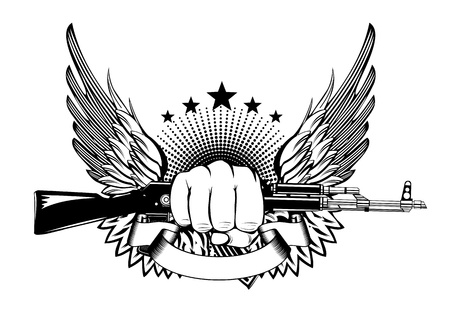terrorists: illustrazione ali pugno e AKM