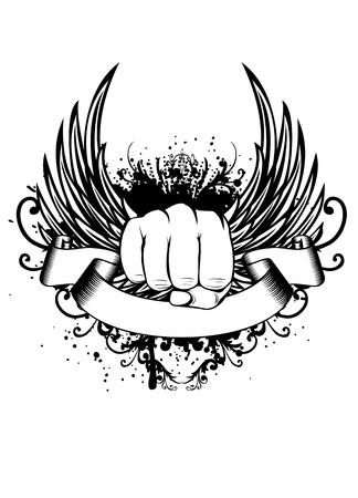 tribali: Vector illustration t-shirt pugno di progettazione e le ali