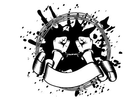 puños cerrados: Ilustración del vector en las manos unas esposas