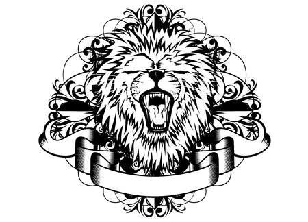 illustration head lion and patterns Vector