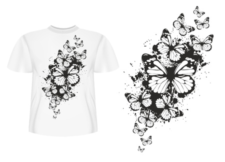 short sleeve: Vector illustration t-shirt design butterflys Illustration