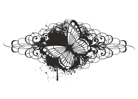 farfalla tatuaggio: Vettore farfalla illustrazione con disegno
