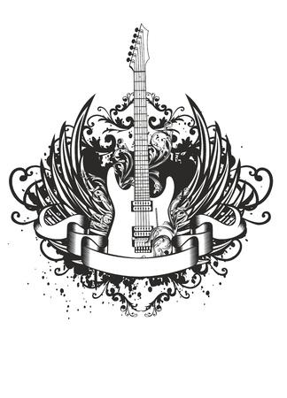 guitarra: Vector de imagen de guitarra con alas, los patrones y la cinta