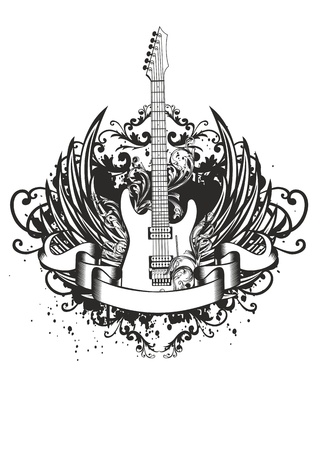 rock   roll: Vector image guitar with wings, patterns and ribbon