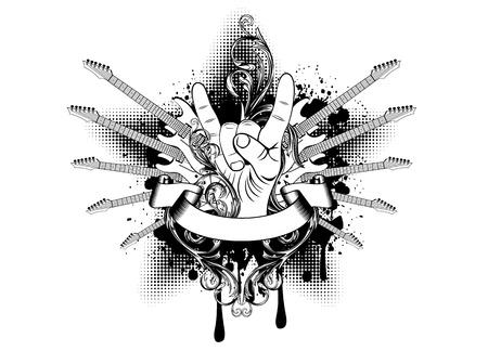 Vector illustration guitars with patterns Stock Illustratie