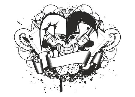 arlecchino: Illustrazione vettoriale joker e revolver