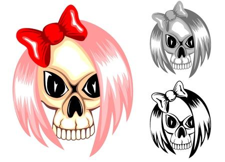 tattoo girl: Ilustraci�n vectorial cr�neo emo con el arco rojo