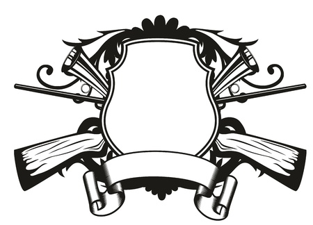 image board crossed guns and patterns Vector