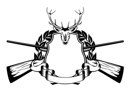 illustratie kader gekruist wapens en hoofd van artiodactyl