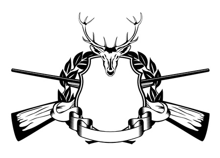 deers: illustration framework crossed guns and head of artiodactyl