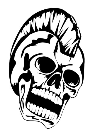 image skull of the punk with mohawk on head Vector