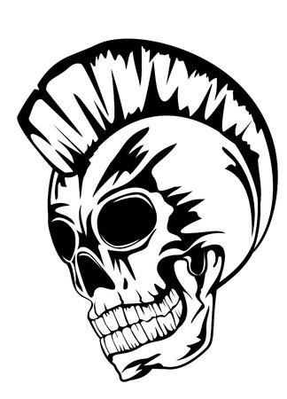 tete de mort: cr�ne image du punk avec mohawk sur la t�te