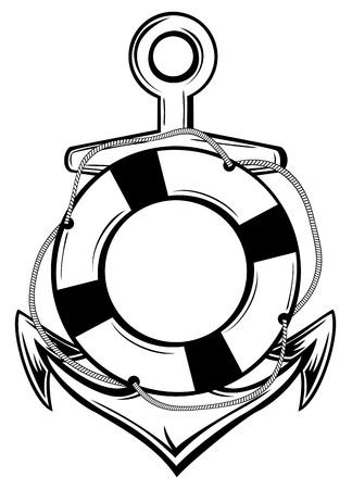 aro salvavidas: ilustraci�n ancla emblema y el anillo-boya tatuaje boceto Vectores