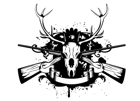 illustration  skull artiodactyl and crossed guns Иллюстрация