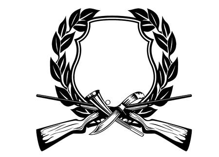 оленьи рога: Изображение платы пересекли оружия нож и рожок