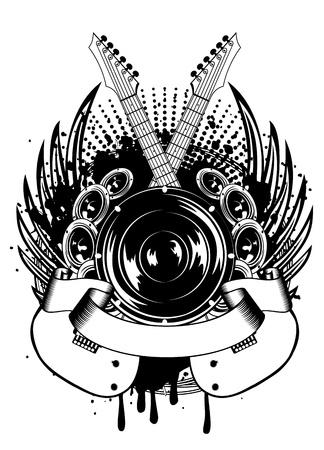 Vector illustration gekreuzte Gitarren Flügeln und Dynamik Illustration