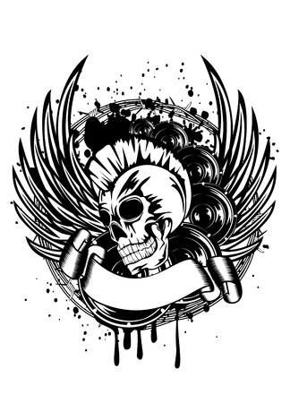 punk hair: illustration a skull punk wings and dynamics
