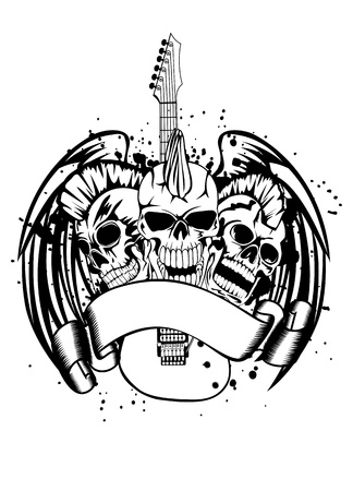 heavy: an illustration three skulls of punks guitar and wings