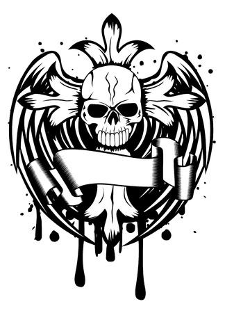 십자가와 날개 그림 두개골