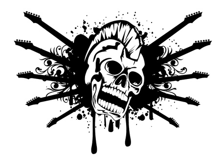 illustration of skull punk guitar and patterns Stock Illustratie