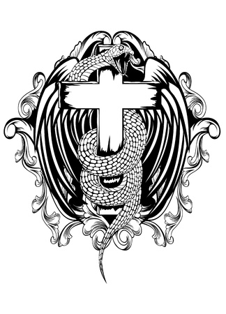 cross and wings: ilustraci�n de las serpientes tuerce alas cruzadas y el patr�n sobre fondo blanco