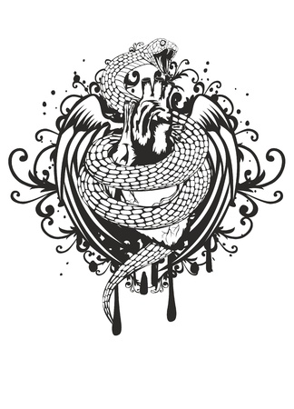 heart attack: illustration of  snake twisting heart wings and pattern on  white background