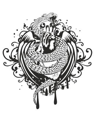 corazon con alas: ilustraci�n de las alas de la serpiente del coraz�n de torsi�n y el patr�n sobre fondo blanco