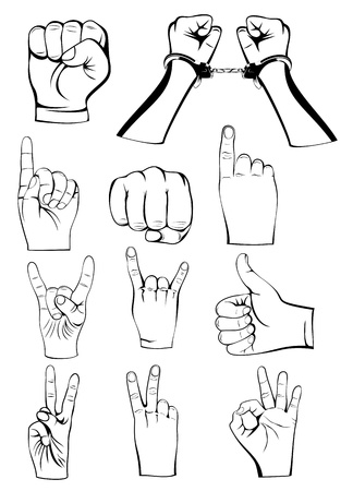 ok sign language: Vector  illustration hands gestures set Illustration