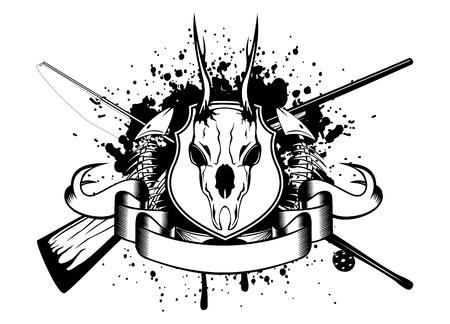 skull and crossed bones: Imagen vectorial cruzado artes de pesca y las armas, el esqueleto de los peces y huevas