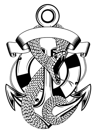 Vector illustration snake twists an anchor and ring-buoy on  white background