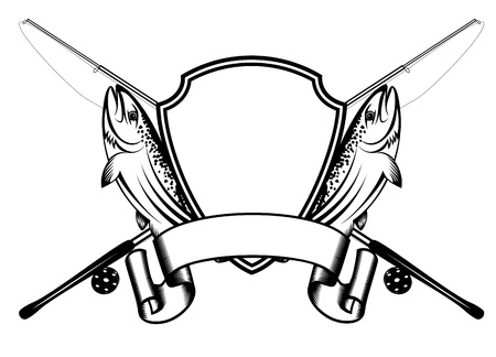 Vector image of crossed fishing tackles and fish trout Stock Illustratie