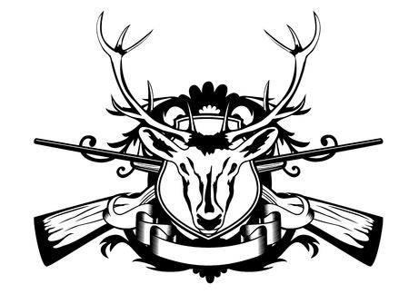 оленьи рога: Векторные иллюстрации головы парнокопытных и скрещенные оружие Иллюстрация