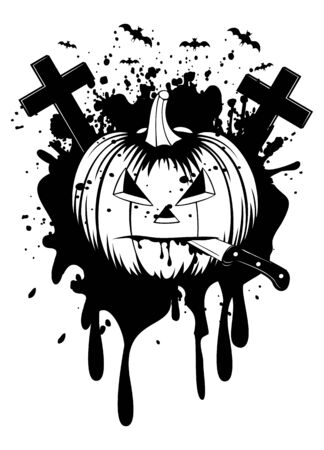 illustration halloween pumpkin with knife Vector