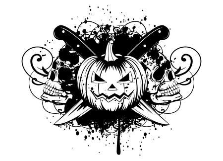 illustration halloween pumpkin with skulls Vector