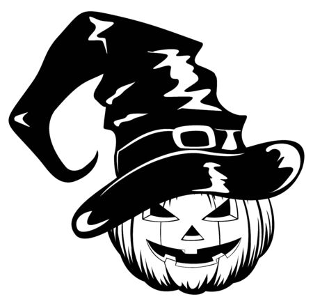 illustration pumpkin in halloween hat Vector