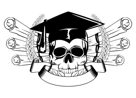 finishing school:  illustration skull in graduation cap and scrolls
