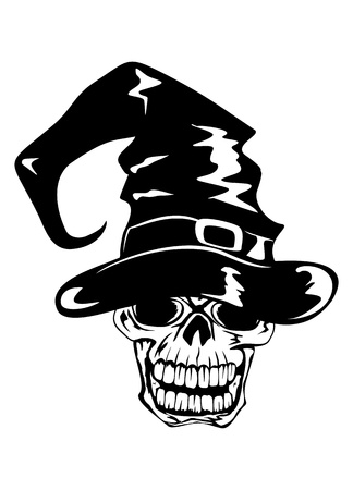 illustration skull in halloween hat Vector