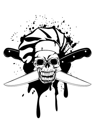 chef knife:  illustration skull in toque and crossed knifes Illustration