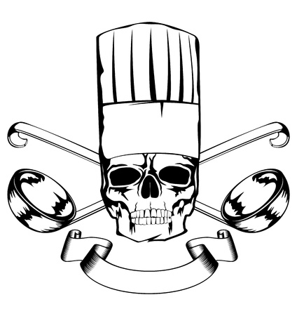 illustration skull in toque and crossed lables
