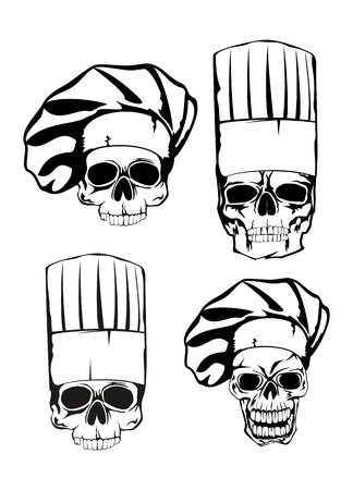 illustration skull in toque set Иллюстрация